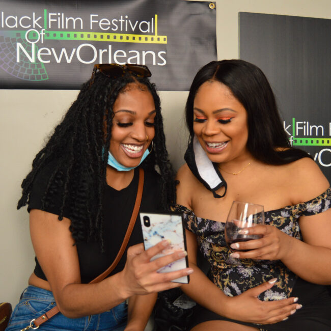 Photo of two women at the Black Film Festival of New Orleans